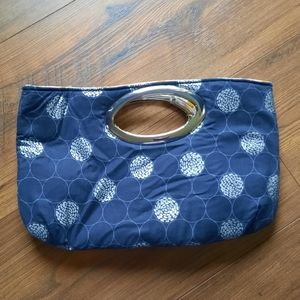 Navy blue and mermaids clutch
